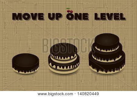 three cakes different heights and motivating inscription