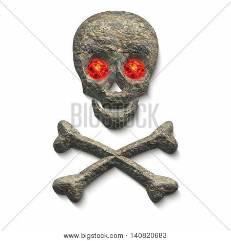 Skull with stone texture and glowing red eyes with two crossing bones below isolated on white 3D illustration