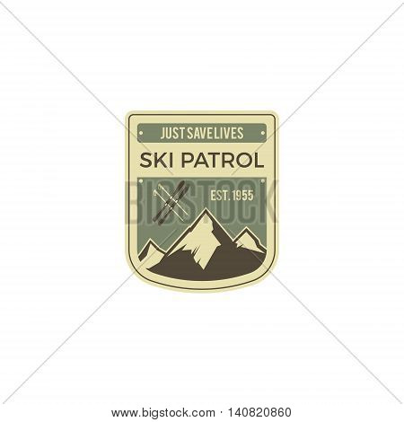 Ski patrol Label. Vintage Mountain winter camp explorer badge. Outdoor adventure logo design. Travel logotype and hipster color insignia with wilderness gear. Retro emblem and stamp. Vector patch.