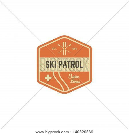 Ski patrol patch. Vintage outdoor design with mountain winter rescue gear. Outdoor adventure logo design. Travel hipster color insignia. Wilderness emblem and stamp. Vector patch.