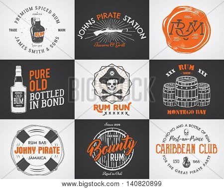 Set of vintage handcrafted pirates emblems, labels, logos. Isolated on a scratched paper background. Sketching filled style. Pirate symbols - old rum bottles, barrels, skull, pistol. Vector.