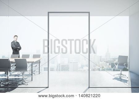 Thoughtful businessman with folded arms in modern conference room interior with panoramic city view and daylight. 3D Rendering