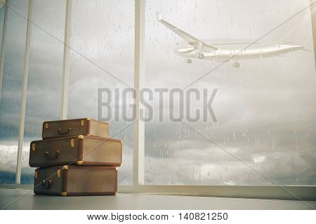 Airport interior with three suitcases and panoramic window with airplane flying by on dull sky background. 3D Rendering