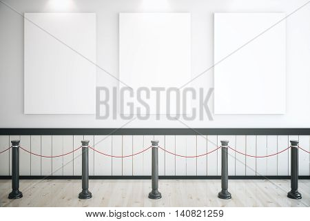 Museum interior with three blank posters railings and light wooden floor. Mock up 3D Rendering