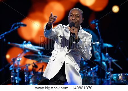 NEW  YORK-NOV 13: Recording artist Aloe Blacc performs on stage during VH1's 2nd Annual 'You Oughta Know Live In Concert' 2014 at Hammerstein Ballroom on November 13, 2014 in New York City.