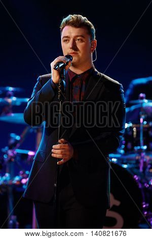 NEW  YORK-NOV 13: Singer Sam Smith performs on stage during VH1's 2nd Annual 'You Oughta Know Live In Concert' 2014 at Hammerstein Ballroom on November 13, 2014 in New York City.