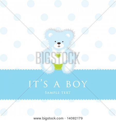 Teddy bear for baby boy - baby arrival announcement