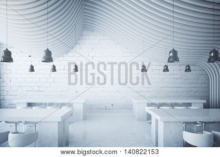 White brick dining area with lamps and abstract round patterned ceiling. 3D Rendering