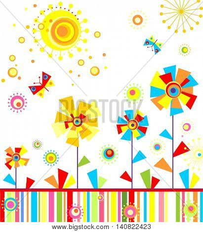 Childish greeting applique with abstract colorful flowers
