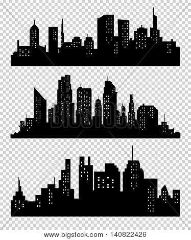 Set of vector cities silhouette. Night town on transparent background