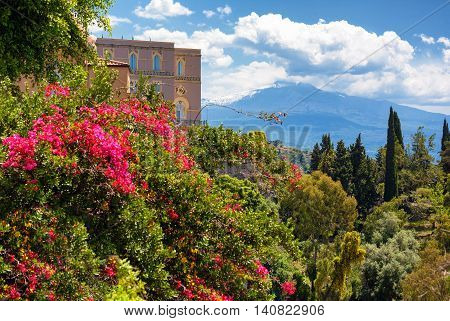 Flowers in the front and the Etna volcano in the background in Taormina Sicily Italy
