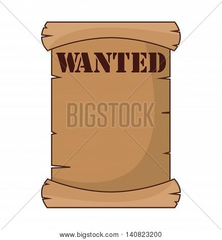 wanted label paper old wild west icon