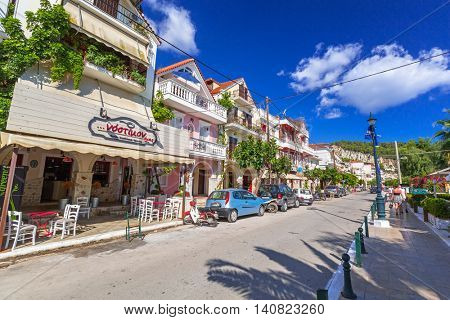 ZAKINTHOS, GREECE - AUG 22, 2015:  Streets of Zante town on Zakynthos island, Greece. Zakynthos city called Zante town is a capital and biggest city of this small greek island.