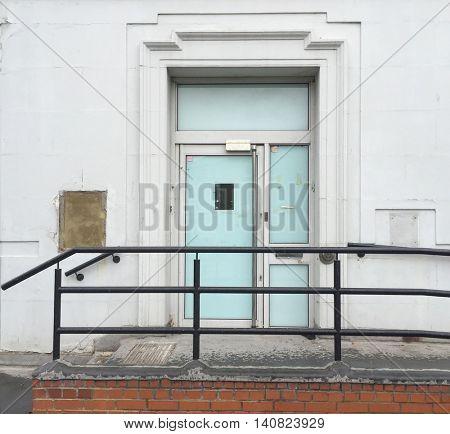 Derelict bank front entrance