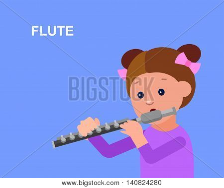 Cute vector character girl. Happy kid girl playing on flute. Education and child development. Banner for kindergarten, children club or school of Arts, music school