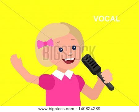 Cute vector character girl. Happy kid girl sings. Education and child development. Banner for kindergarten, children club or school of Arts, music school