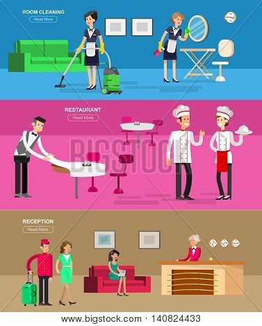 Hotel staff and service, reception, Room cleaning and restaurant, detailed character porter, chambermaid, chief cooker, cool flat tourism elements