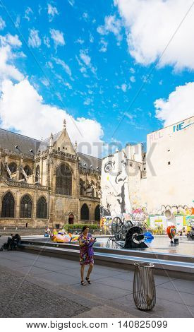 PARIS, FRANCE - July 31 : Tourists on foot Graben Street view around Paris city. Paris is the capital and most populous city of France. July 31, 2016, Paris, France.