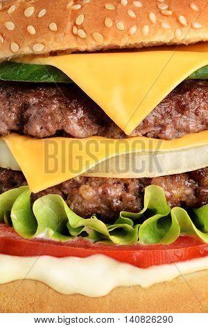 Fresh juicy cheeseburger close up, popular fast food