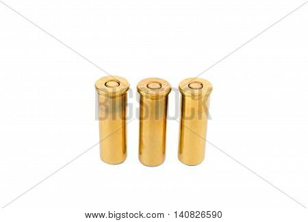Bullets pile, isolated on white background. Has the beautiful.