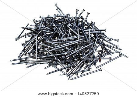 Pile of new nails isolated on white background with clipping path