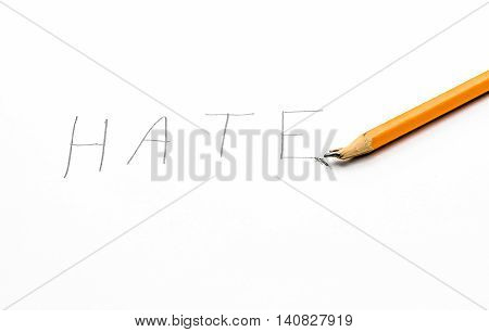 A handwritten note with the word hate on it showing frustration with a broken pencil