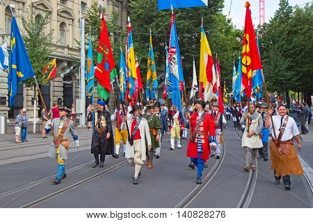 ZURICH - AUGUST 1: Swiss National Day parade on August 1, 2009 in Zurich, Switzerland. Representative of professional guilds in a historical costume.