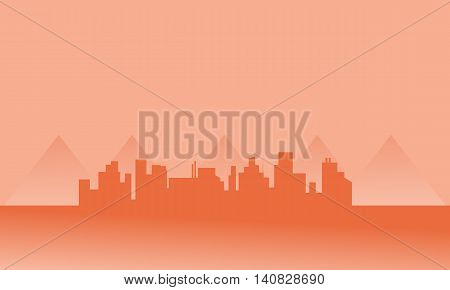 Silhouette of city in fog at the afternoon
