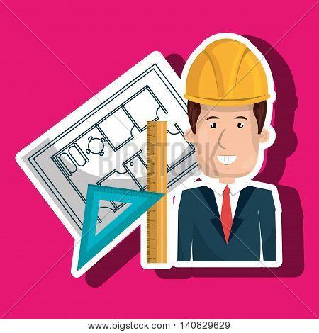 man laptop helmet tools vector illustration graphic