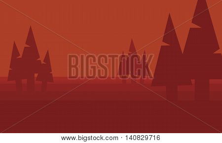 Silhouette of spruce in hill vector collection stock