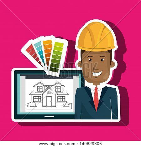 man laptop helmet tablet vector illustration graphic