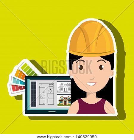 woman architecture laptop plans vector illustration graphic