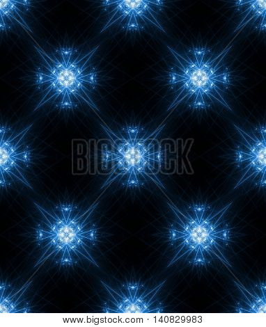 Blue glowing neon ornament background. Seamless pattern. Blue glowing ornate tile. Black background. Seamless glowing ornamental wallpaper