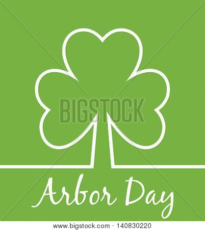 Arbor Day. Minimal tree simple card. Save the trees concept. Modern simple card. Abstract plant.