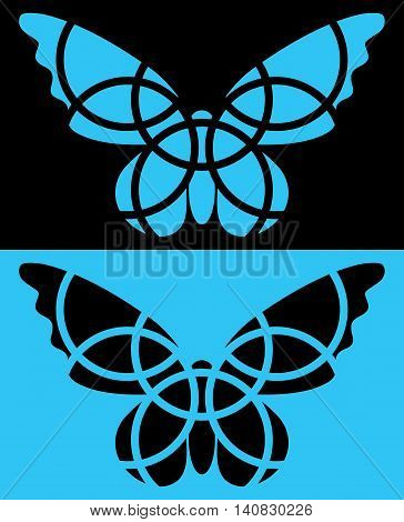 Butterfly mosaic icon. Isolated. Blue and black colors. Reversed colors. Applied for t-shirt website etc