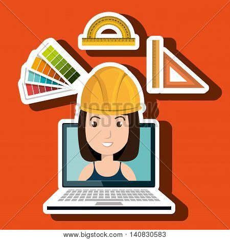 woman architecture laptop rules vector illustration graphic