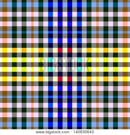 Colorful checkered seamless background. Gingham pattern. Chequered tileable pattern