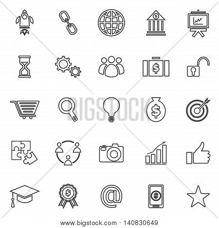 Start up line icons on white background, stock vector