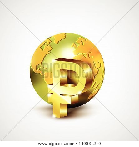 World Economic Concept With 3D Gold World And Ruble Currency Isolated On White Background, Vector Il