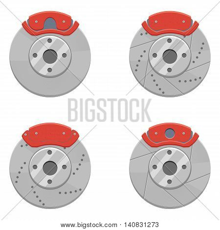 Car Brake set vector illustration isolated on a white background