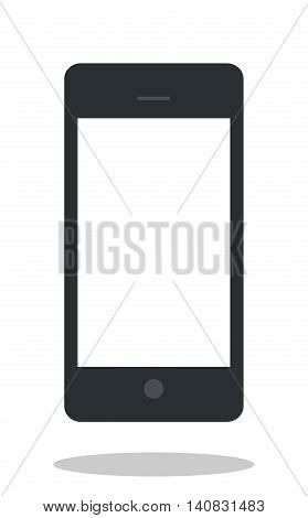 Mobile phone icon with drop shadow. Flat style cellphone icon. Mobile phone object isolated on white background.
