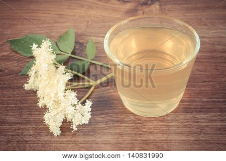 Vintage Photo, Fresh Healthy Juice And Elderberry Flowers On Rustic Board