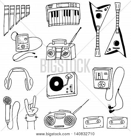 Doodle of music stock collection hand draw