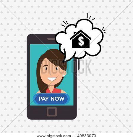 woman house smartphone speak vector illustration graphic