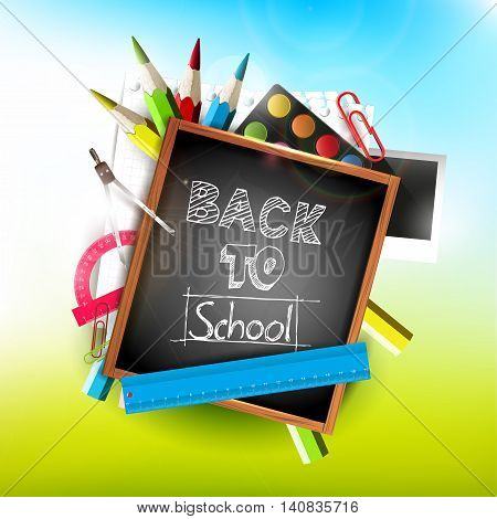 Back to school - vector balck board illustration with background