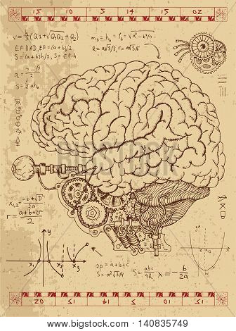 Graphic set with mechanical human brain, eye and math formulas in steam punk style. Hand drawn vintage illustration, sketch anatomy tattoo, old science background with esoteric symbols
