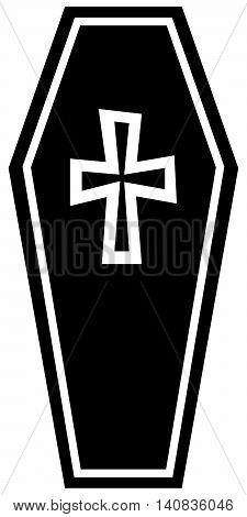 Coffin Icon coffin death rest in peace dead cross shape