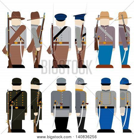 The Armed Forces of the Confederate army in the Civil War the United States. The illustration on a white background.