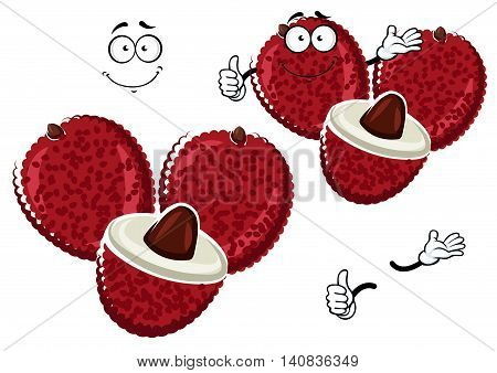 Exotic asian cartoon bright pink lychee fruit character with heart shaped fruits and happy face. Use as oriental cuisine dishes recipe or kitchen interior accessories design