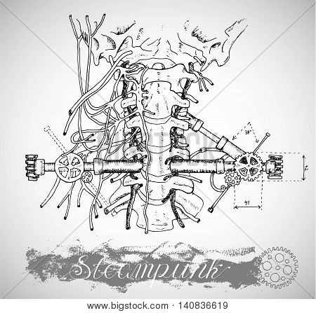 Human anatomy throat with vintage mechanism in steam punk style. Hand drawn illustration, sketch tattoo, old black and white science background with lettering